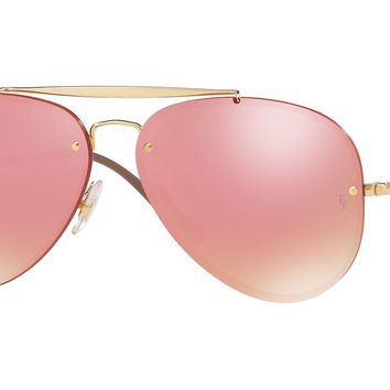 RAY BAN 0RB3584N Aviator Unisex Sunglasses Gold/Pink