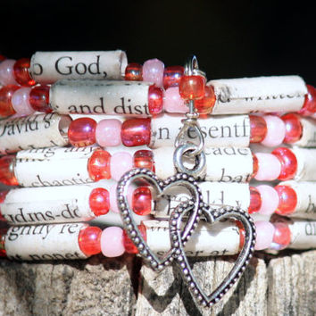 Eat Pray Love Paper Bead Bracelet - Spiral Wrap Bracelet - Memory Wire - Upcycled