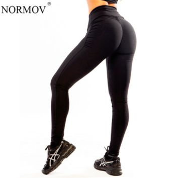 NORMOV S-XL Women Push Up Leggings Polyester Fitness Legging Large Size Black Slim Jeggings High Waist Leggings Trousers Women
