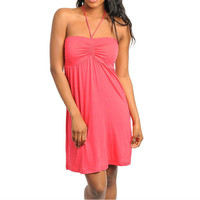 Draw String Casual Halter Dress in Coral