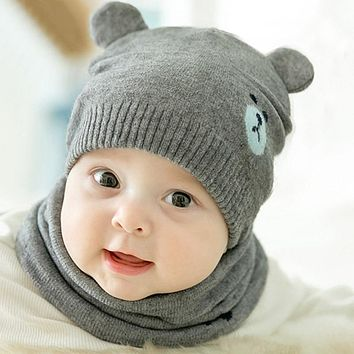 2Pcs Baby Hat Scarf Set Cat Bear Winter Warm Knit Baby Cap Bonne a8c307727d7f