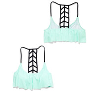 Ladder Back Flounce Top - PINK - Victoria's Secret