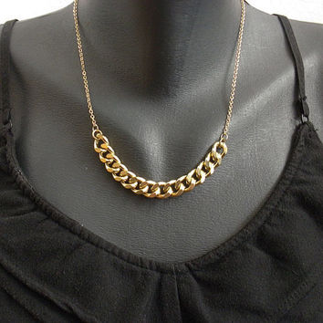 Gold Plated Chunky Chain Choker link width thick by sohocraft