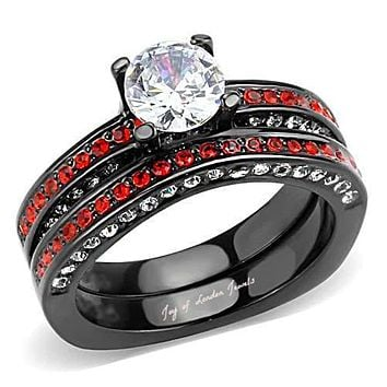 Black Stainless 1CT Brilliant Round Cut Russian Lab Diamond Red Accented Bridal Set