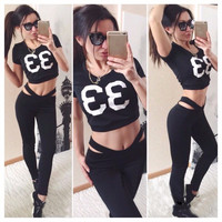 Scoop Short Sleeves Crop Top Skinny Pants Two Pieces Set