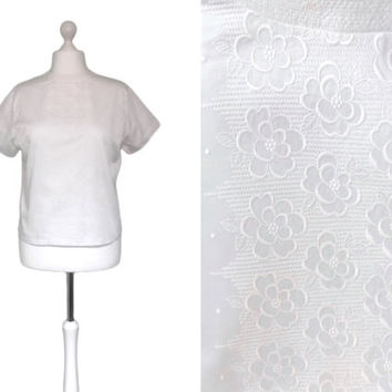 White Vintage 1950's Blouse - 50's Blouse - Large UK20 - Embroidered Cotton Button Back Blouse - Short Sleeve Blouse