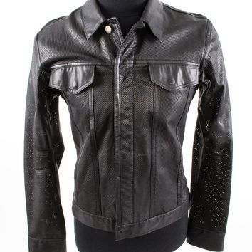 Black Leather Perforated Jacket with Chest Pockets