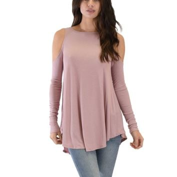 Lyss Loo In Good Company Ribbed Cold Shoulder Mauve Long Sleeve Top