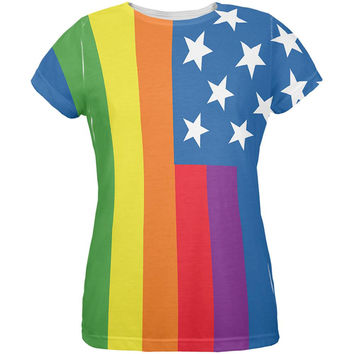 LGBT American Flag Rainbow All Over Womens T-Shirt