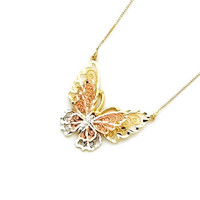 14kt. Gold Tri-color Butterfly Necklace