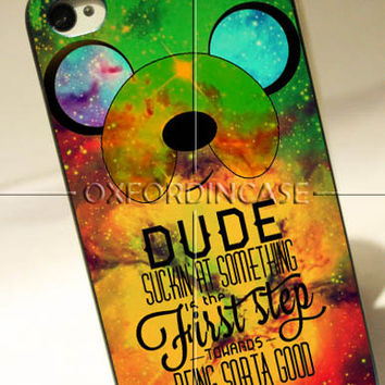 Adventure Time Finn Quote Galaxy - for iPhone 4/4S case iPhone 5 case Samsung Galaxy S2/S3/S4 case hard case