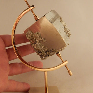 A Giant! 100% Natural Pyrite Crystal CUBE From Peru With Caliper Stand! 910gr e