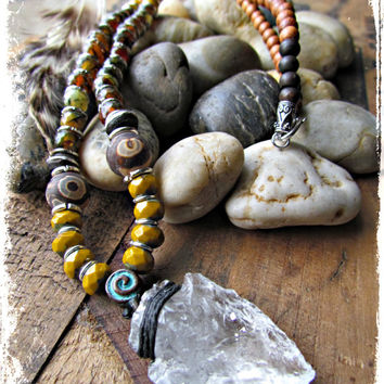 QUARTZ Arrowhead TRIBAL Ethnic Necklace~Artisan Beaded Statement GEMSTONE Hippie Boho Necklace~Mdogstudios~