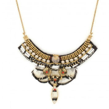 Indian Amazon White Feather Necklace by Satellite Paris