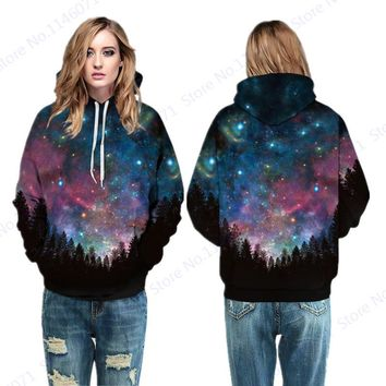 Starry Night Sky Over The Forest Hooded Sweatshirts Red Blue Space Galaxy Skateboarding Hoodies Woman Oversize Sport Suit Jacket
