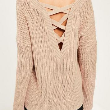 Missguided - Camel Lace Up Back Knitted Jumper