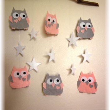 Small Pink and Grey Owl Mobile, Nursery Mobile, Nursery Bedding, Nursery Decor, Baby Shower Gift, Sabby Sheek