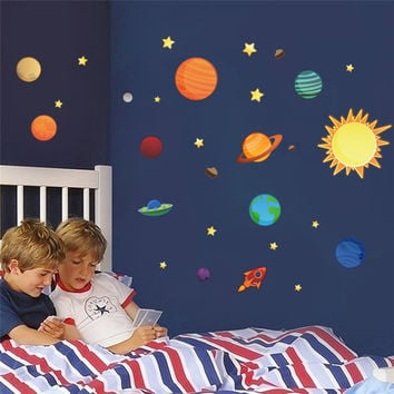 NEWEST colorful DIY Wall Art Stickers home decals Roof wall sticker Outer space Planet for kids room baby nursery party supply