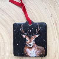 WINTER DEER - Hand Painted Ornament Christmas Holiday