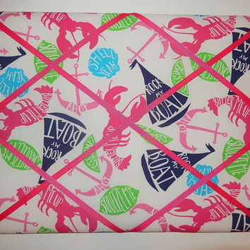 New memo board made with Lilly Pulitzer Butter Me Up fabric