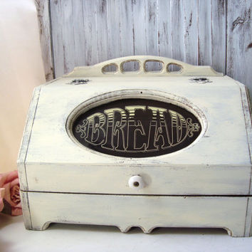 Shabby Chic Cream Distressed Bread Storage Box, Vintage Wooden Bread Box, Rustic Vintage Box