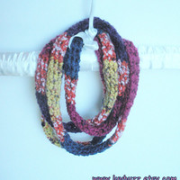 Infinity Wrap Rope Scarf Crochet Necklace in cranberry, navy, saffron, plum and rust, ready to ship.