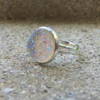 MONSTER SALE Crystal and Silver Druzy Ring - Adjustable Ring - Silver Tone Ring -  Boho Jewelry - Jewelry - Gifts For Her