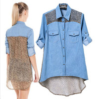 Leopard Chiffon Denim Shirt Collar Half Sleeve Blouse