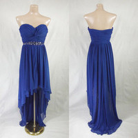 Strapless Hi-Low Blue Mesh Cocktail Dress Sz 9