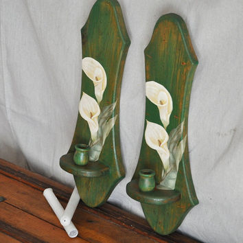Candle Wall Sconces Calla Lilly Decoupaged by TheVelvetBranch
