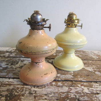 Antique Miniature Metal Kerosine Oil Lamp by VintageShoppingSpree