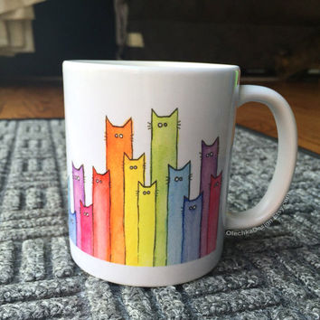 Rainbow of Cats Ceramic Mug, Cute Coffee Mug, Funny Gift Cat Lovers