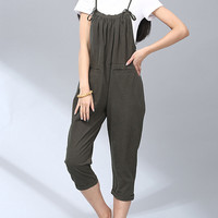 Women's Preppy Style Loose Fit Jumpsuit Capris Pants