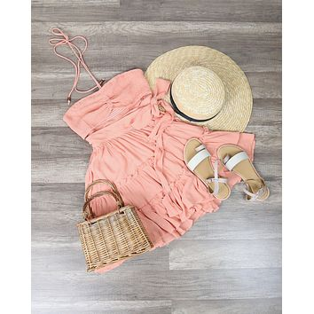 Cutout Wrap Play Dress in Sunset Coral