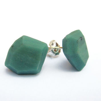 Modern Stud Earrings, Geometric Earrings, Colorful Post Earrings, Jade Green Earrings, Facet Earrings, Asymmetrical Jewelry, Silver Earrings