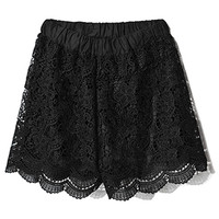 ROMWE | Hollow-out Black Lace Shorts, The Latest Street Fashion