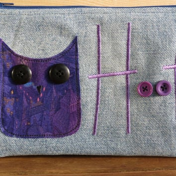 Recycled Denim and Purple Owl Applique Pencil Case, pouch, make-up bag, craft bag