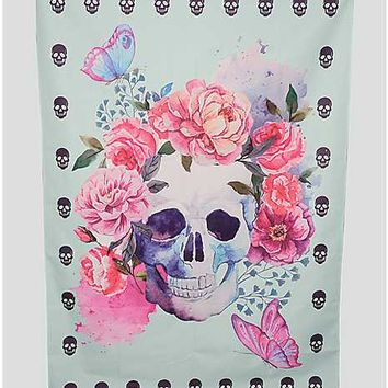 Flowers Skull Festival Mat - Spencer's