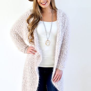 Two Tone Long Fuzzy Cardigan & Hood