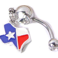 Texas State Flag Lone Star  ***  BELLY NAVEL button RING