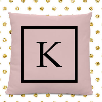 Initial Pillow - Letter Pillow - Pillow with Letter K - Monogrammed Pillow - Custom Throw Pillow - Pink Letter Pillow