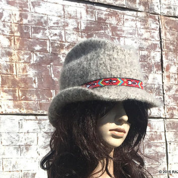 COWGIRL HATS, Cowgirl Clothing, Winter Is Coming, Hand Knit & Hand Felted Hat, Cowgirl Style, Festival hat, Thunderbird, Arrows Design