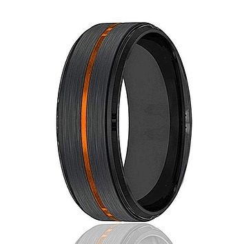 Men's Black Tungsten Carbide Wedding Band with Thin Luscious Orange Groove 8mm