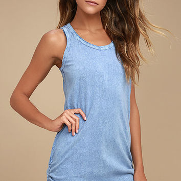 Olive & Oak Harmony Denim Blue Bodycon Dress