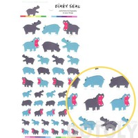 Hippopotamus Hippo Shaped Animal Themed Stickers for Scrapbooking and Decorating