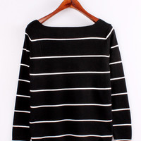 Black and White Long Sleeve Stripe Shirt