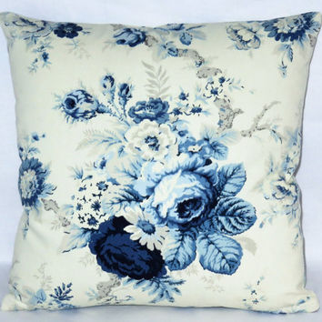 "Waverly Blue Rose Pillow, 17"" Square Cotton, Sanctuary Norfolk, Cream off White, Zipper Cover Only or Insert Included, Ready to Ship"