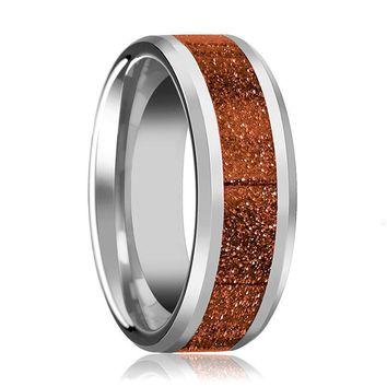 Tungsten Orange Goldstone Inlay - Tungsten Wedding Band - Beveled - Polished Finish - 8mm - Tungsten Wedding Ring