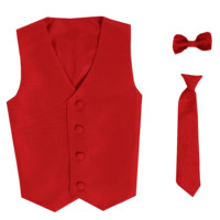 Red Vest & Tie Set Poly Silk 2 Pc with Choice of Necktie or Bow Tie (Boys 3 months - size 14)
