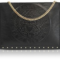 Balmain Black Coin Embossed Leather Mini Domaine Pouch w/Chain